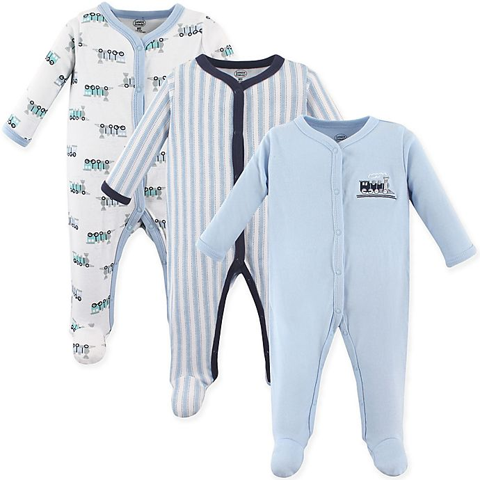 Alternate image 1 for Luvable Friends® 3-Pack Trains Sleep N Play Footies in Light Blue/Navy