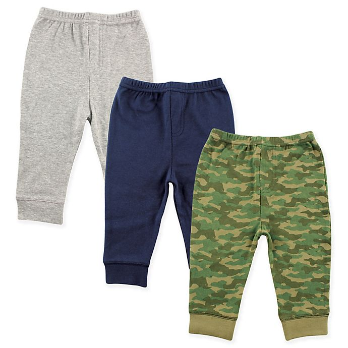 Alternate image 1 for Luvable Friends® Size 18-24M 3-Pack Camo Pants in Army Green