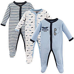 Luvable Friends® Size 3-6M 3-Pack Airplane Sleep N' Play Footies in Blue