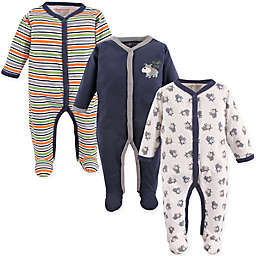 Luvable Friends® 3-Pack Dog Sleep N Play Footies in Navy/Orange