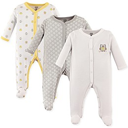 Luvable Friends® 3-Pack Owl Sleep N Play Footies in Yellow/Grey