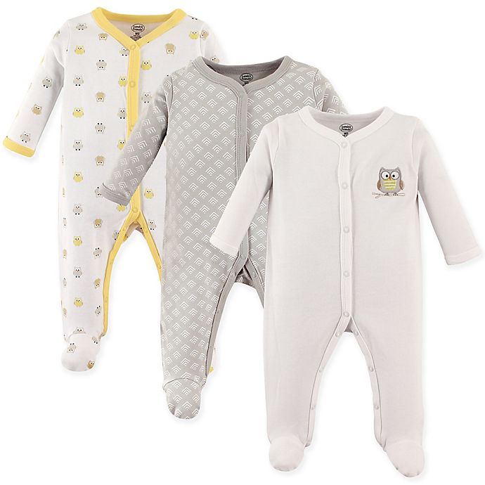 a714c9822 Luvable Friends® Size 3-6M 3-Pack Owl Sleep N Play Footies in Yellow/Grey