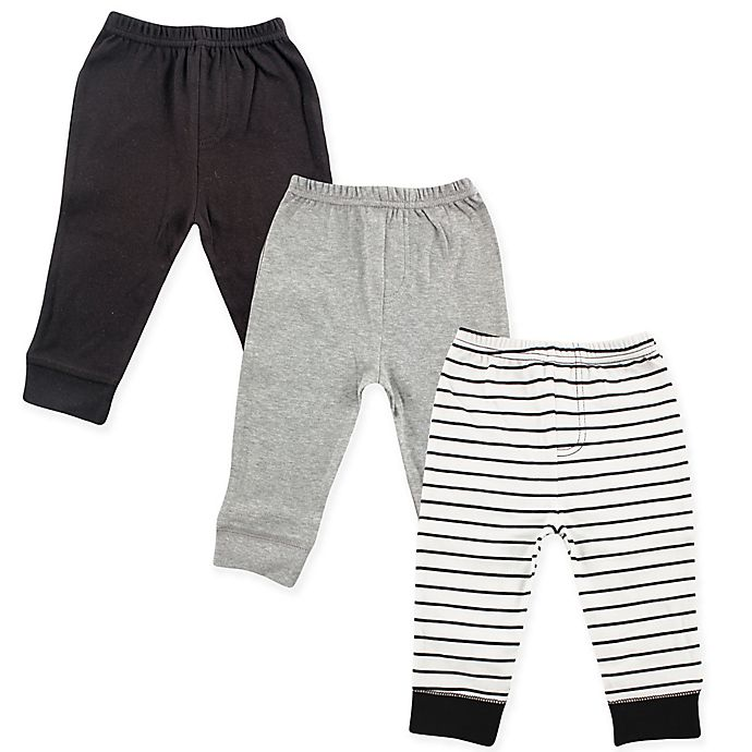 Alternate image 1 for Luvable Friends® Size 9-12M 3-Pack Pants in Black