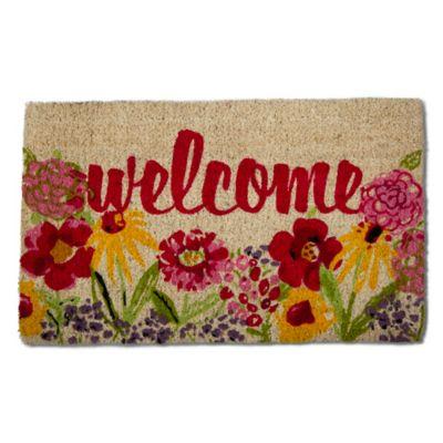 Flower Welcome 18 Quot X 30 Quot Coir Multicolor Door Mat Bed