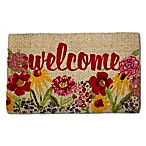 "Flower Welcome 18"" x 30"" Coir Multicolor Door Mat"