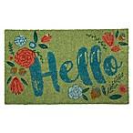 """Flower Hello 18"""" x 30"""" Coir Multicolor Door Mat"""
