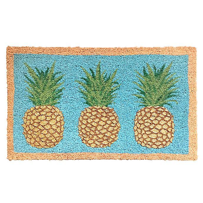 Alternate image 1 for Glitter Pineapples 18-Inch x 30-Inch Multicolor Coir Door Mat