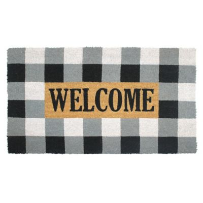 Buffalo Plaid Welcome Multicolor Coir Door Mat Bed Bath