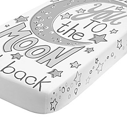 "NoJo® ""Love You to the Moon and Back"" Fitted Crib Sheet in Grey"