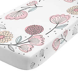 NoJo® Floral Fitted Crib Sheet in Rose Pink