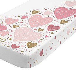 NoJo® Love & Kisses Fitted Crib Sheet in Rose Pink