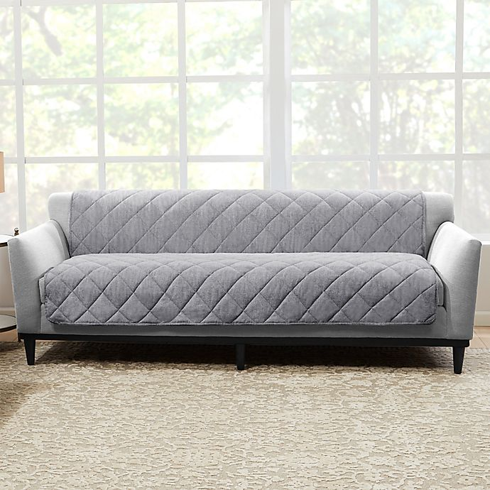 Alternate image 1 for Sure Fit® Brushed Faux Linen Sofa Protector in Grey