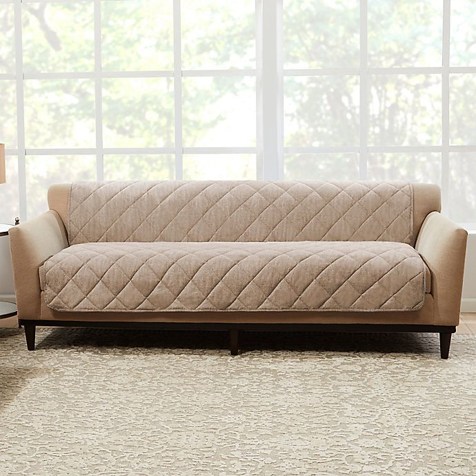 Alternate image 1 for Sure Fit® Brushed Faux Linen Sofa Protector in Sand