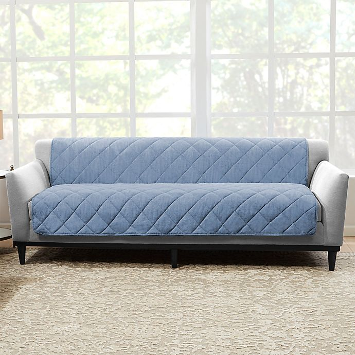 Alternate image 1 for Sure Fit® Brushed Faux Linen Sofa Protector in Chambray