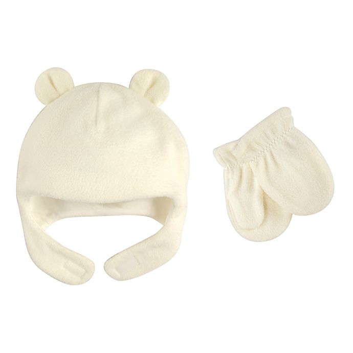 Alternate image 1 for Luvable Friends® Size 6-12M Fleece Hat and Mitten Set in Cream