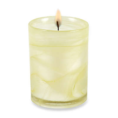 Illuminaria Yellow Hibiscus and Nectarine Marble Swirl Jar Candle