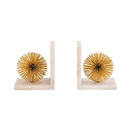 Sterling Industries Pom Bookends in White and Gold (Set of 2)
