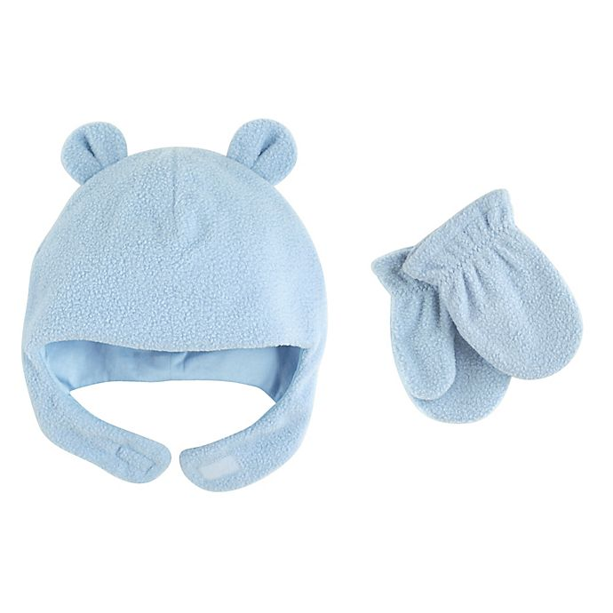 Alternate image 1 for Luvable Friends® Fleece Hat and Mitten Set in Blue