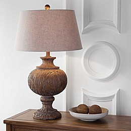 "JONATHAN Y Scarlett 31"" Resin Table Lamp in Dark Brown with Gray Shade"