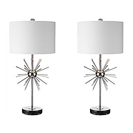 "JONATHAN Y Aria 31.5"" Metal/Marble Table Lamp in Chrome (Set of 2)"
