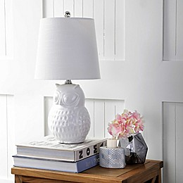 "JONATHAN Y Hoot 20.5"" Ceramic Mini Table Lamp in White Owl"