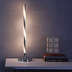 """JONATHAN Y Nile 23.5"""" LED Integrated Table Lamp in Chrome"""