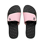 AquaFlops Women's Medium Slide Shower Shoes in Black/Pink