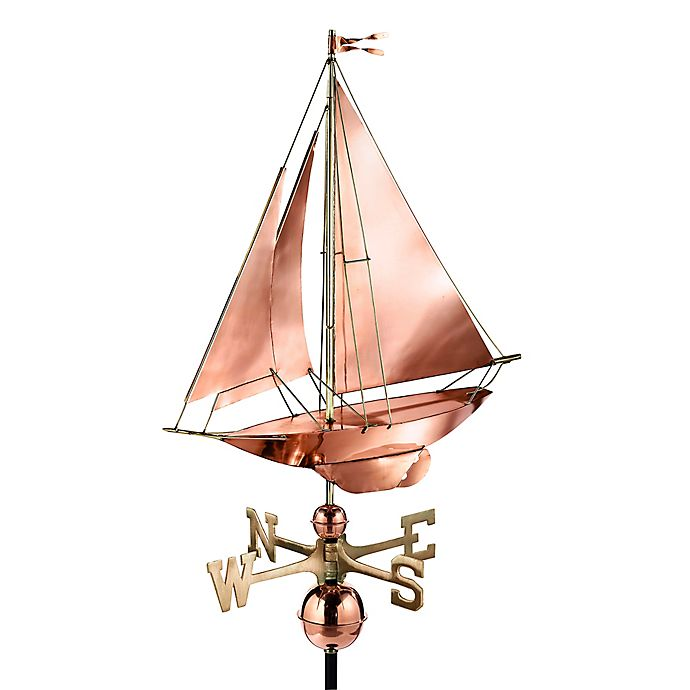 Alternate image 1 for Good Directions Racing Sloop Weathervane in Polished Copper Finish