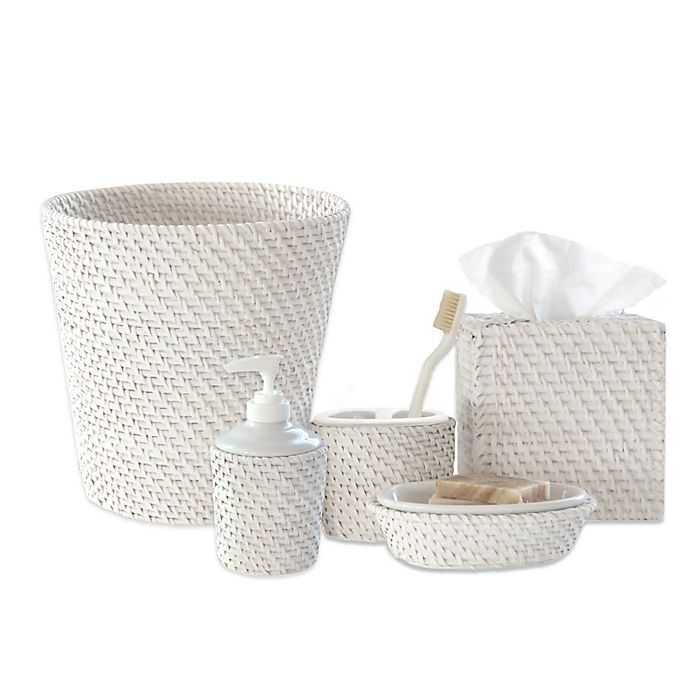 Alternate image 1 for Caribbean White Rattan Bath Accessory Collection