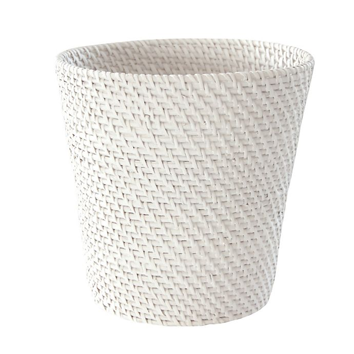 Alternate image 1 for Caribbean White Rattan Wastebasket
