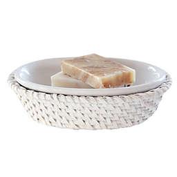 Caribbean White Rattan Soap Dish
