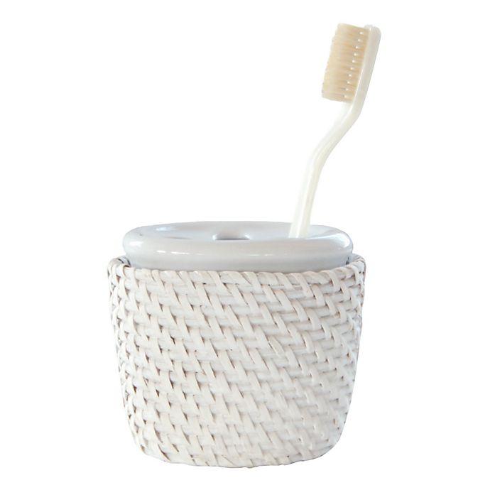 Alternate image 1 for Caribbean White Rattan Tooth Brush Holder