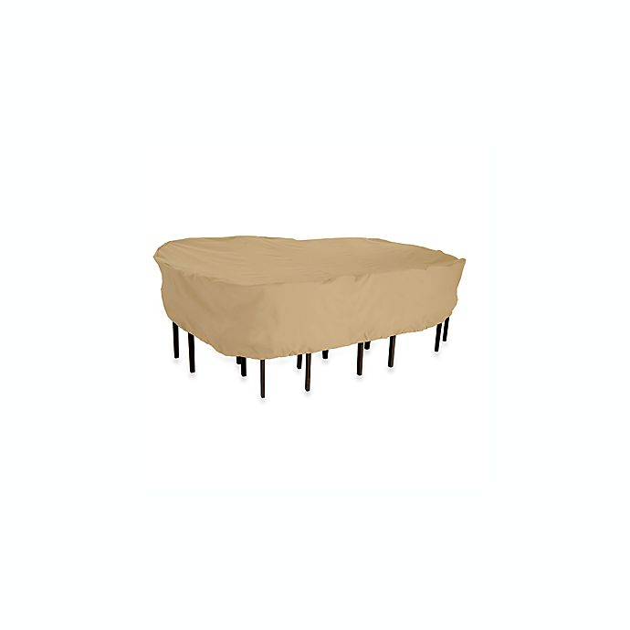 Alternate image 1 for Classic Accessories Terrazzo Patio Rectangular/Oval Patio Table and Chairs Cover in Sand
