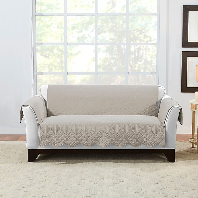 Alternate image 1 for Sure Fit® Microtouch Reversible Loveseat Protector in Sand