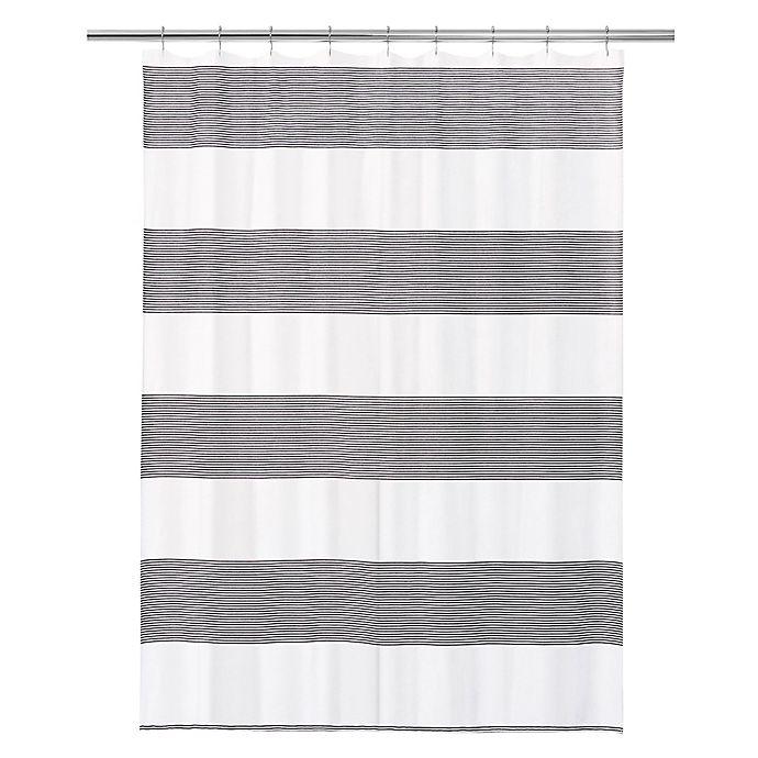 Alternate image 1 for Calvin Klein Donald Shower Curtain in White/Black