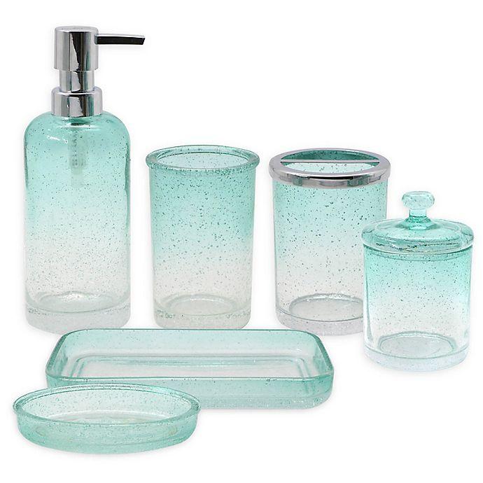 Capri Bubble Glass Bath Ensemble Collection In Aqua Bed
