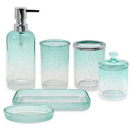 Capri Bubble Glass Bath Ensemble Collection in Aqua