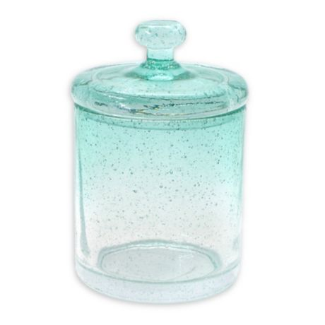 Capri Bubble Glass Cotton Ball Jar In Aqua Bed Bath Amp Beyond