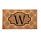 "Evergreen Embossed Flocked Monogram Letter ""W"" Door Mat Insert in Black"