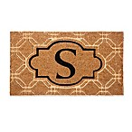 "Evergreen Embossed Flocked Monogram Letter ""S"" Door Mat Insert in Black"