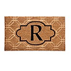 "Evergreen Embossed Flocked Monogram Letter ""R"" Door Mat Insert in Black"