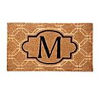 """Evergreen Embossed Flocked Monogram Letter """"M"""" Door Mat Insert in Black"""