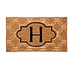 "Evergreen Embossed Flocked Monogram Letter ""H"" Door Mat Insert in Black"