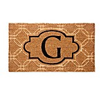 "Evergreen Embossed Flocked Monogram Letter ""G"" Door Mat Insert in Black"