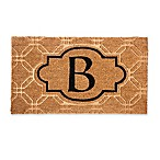 "Evergreen Embossed Flocked Monogram Letter ""B"" Door Mat Insert in Black"