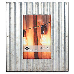 Lawrence Frames 4-Inch x 6-Inch Metal Galvanized Fluted Picture Frame in Silver