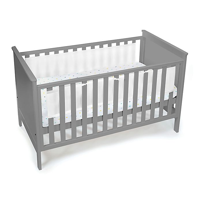 Breathable Baby Solid Mesh Crib Liner White