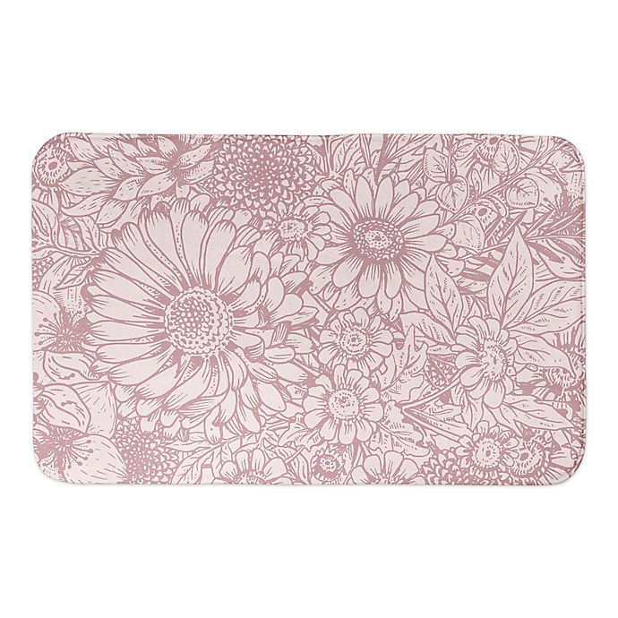 Alternate image 1 for Designs Direct Pink Florals 34-Inch x 21-Inch Bath Rug in Pink