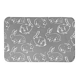 Designs Direct Bunny Sketch 34-Inch x 21-Inch Bath Rug in Grey