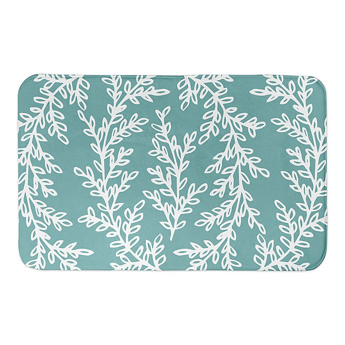 Alternate image 1 for Designs Direct Wreath 34-Inch x 21-Inch Bath Rug in Teal